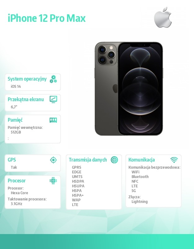 IPHONE 12 PRO MAX GRPHT 512GB Mobilais Telefons