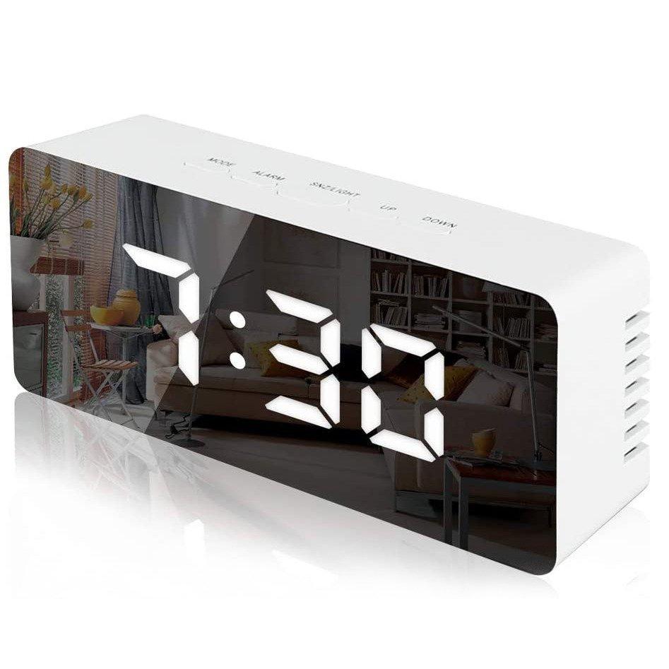 RoGer Mirror Digitālais Pulkstenis  ar LED / Pulkstenis / Modinātājs / Zvana Funkciju /  USB / Balts radio, radiopulksteņi
