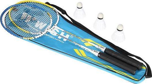 WISH ALUMTEC 327K BADMINTON ROCKET SET BLUE + YELLOW + SHUTTERS 3 PCS WISH badmintona rakete