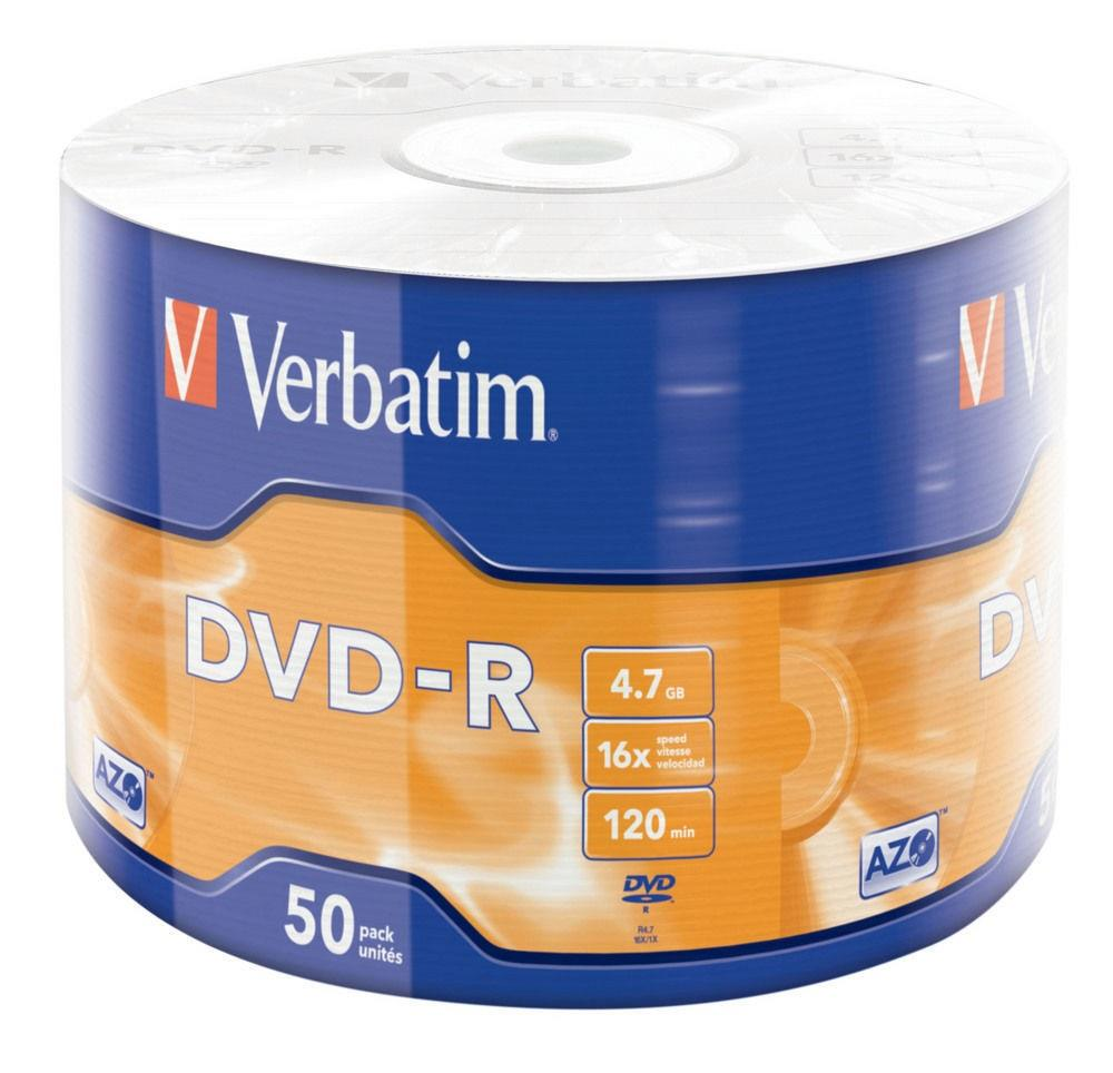 Verbatim DVD-R 4.7GB X16 MATT SILVER WRAP 50 SPINDLE (43788) matricas