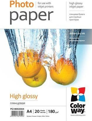 ColorWay Photo Paper 20 pcs. PG180020A4 Glossy, White, A4, 180 g/m² foto papīrs