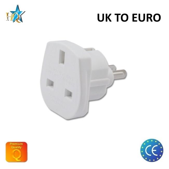 HQ Strāvas ligzdas pāreja UK (Anglija) 3pin uz Euro standartu 2Pin UK uz EU adapteris Balts (OEM) adapteris
