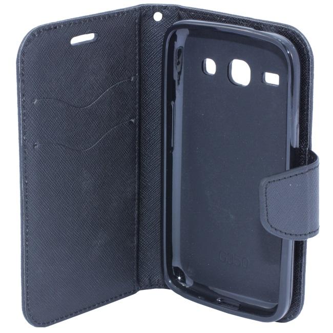 Telone Fancy Diary Book Case ar stendu Sony D2203 D2212 Xperia E3 sāniski atverams Melns maciņš, apvalks mobilajam telefonam