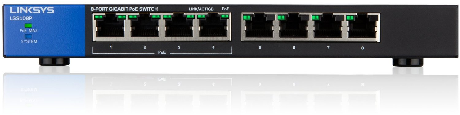 LINKSYS LGS108P Unmanaged Switch PoE 8p komutators