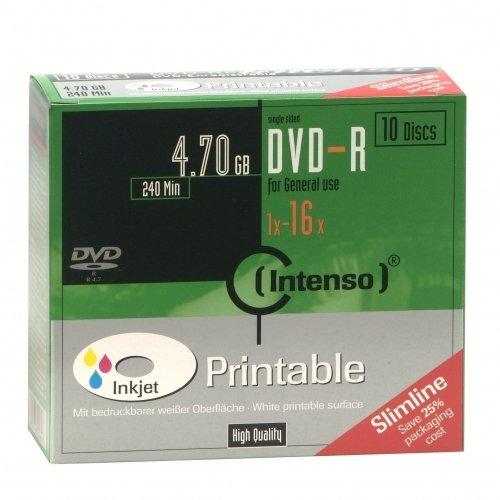 DVD-R Intenso 4,7GB  10pcs SlimCase printable inkjet 16x matricas