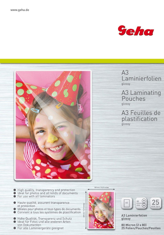 Laminierfolie GEHA     A3 25er Pack 80 Mic laminators