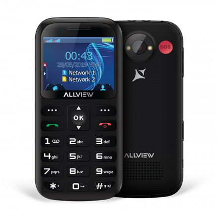 Allview D2 Senior Black, 2.31 , TFT, 240 x 320 pixels, Dual SIM, Bluetooth, 3.0, Built-in camera, Main camera 1.3 MP, 1400 mAh Mobilais Telefons