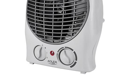 Adler Heater AD 7716 Fan heater, Number of power levels 2, 1000 and 2000 W, White 5902934831536 Klimata iekārta