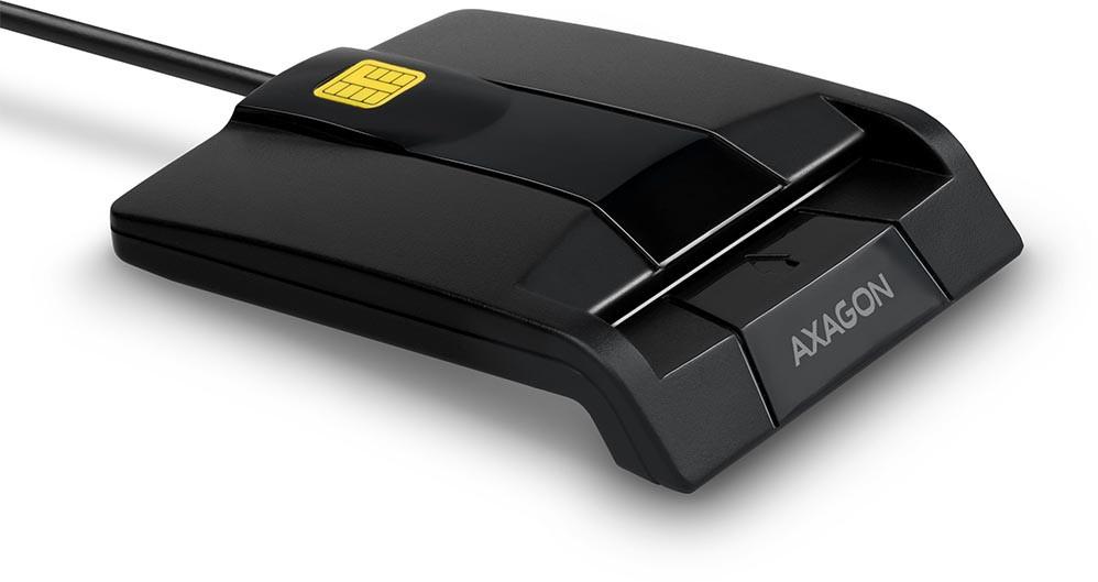 Axagon Compact desktop USB contact Smart card / ID card reader with long, fixed cable. karšu lasītājs