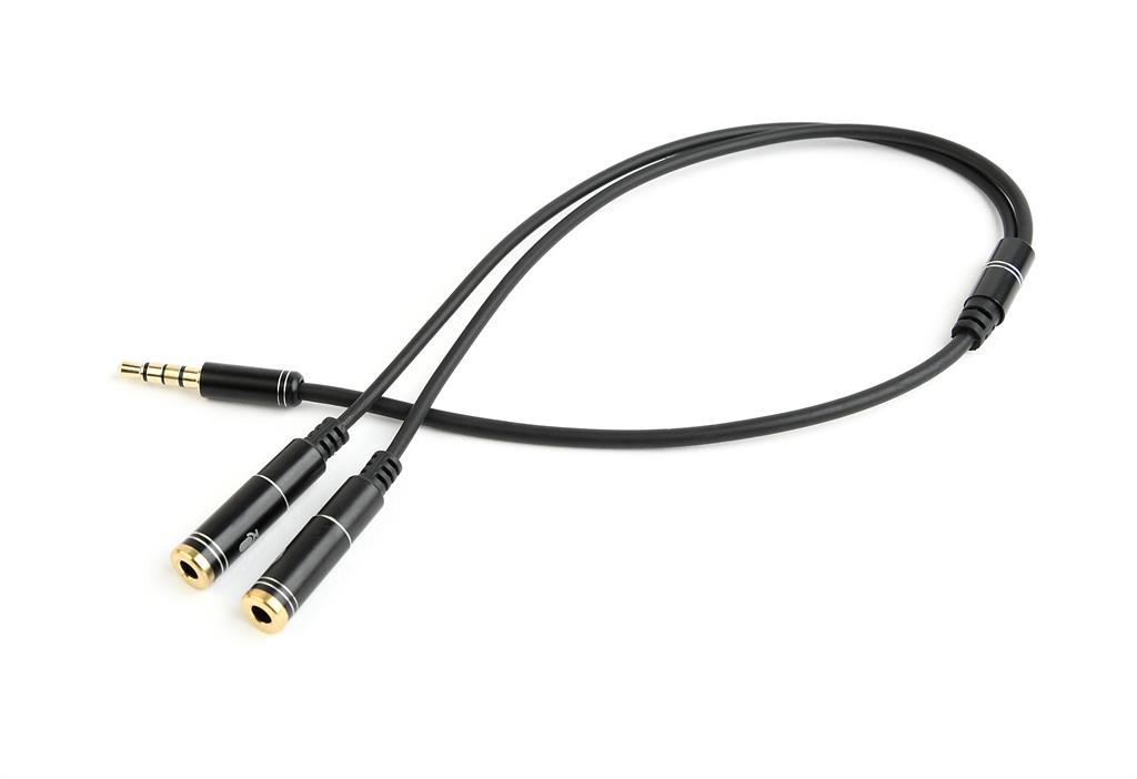 Gembird Adapter Stereo Mini Jack (M) 4-pin -> 2x Mini Jack (F), metal, black