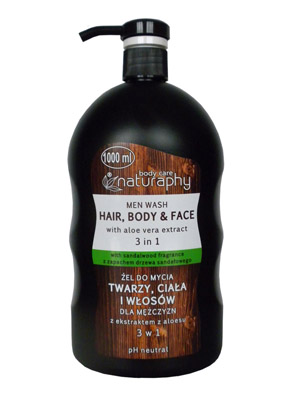 BluxCosmetics Face, body and hair wash gel for men with aloe extract 3in1 1l
