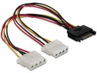 Stromkabel Delock SATA 15Pin -> 2x Molex 4Pin St/Bu 0.20m kabelis datoram
