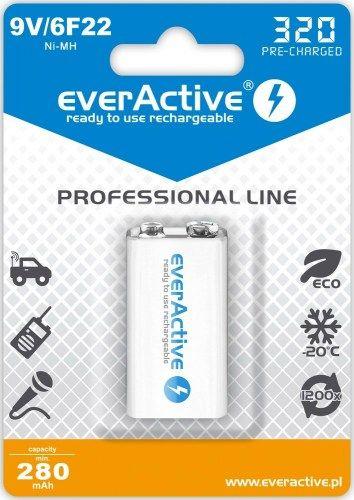 Rechargeable batteries everActive Ni-MH 6F22 9V 320 mAh Professional Line 1pc Baterija
