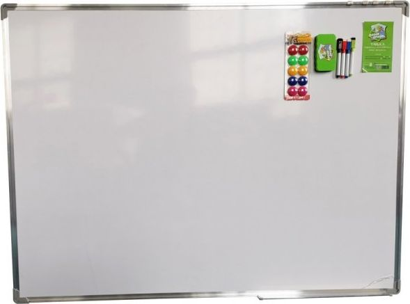 Dry-wipe magnetic board 150x120 cm white with accessories