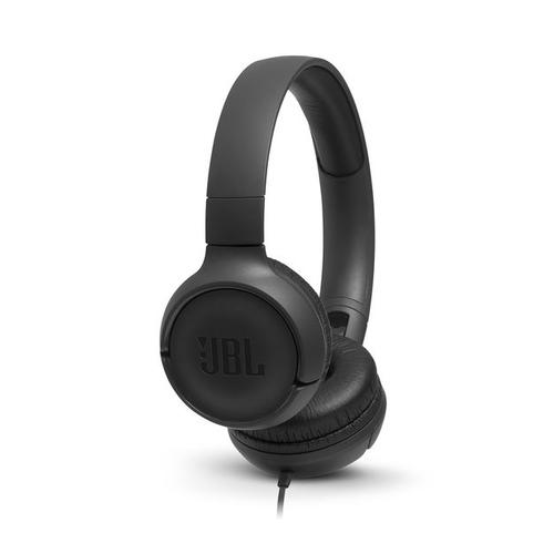 JBL on-ear austiņas ar mikrofonu, melnas JBLT500BLK austiņas