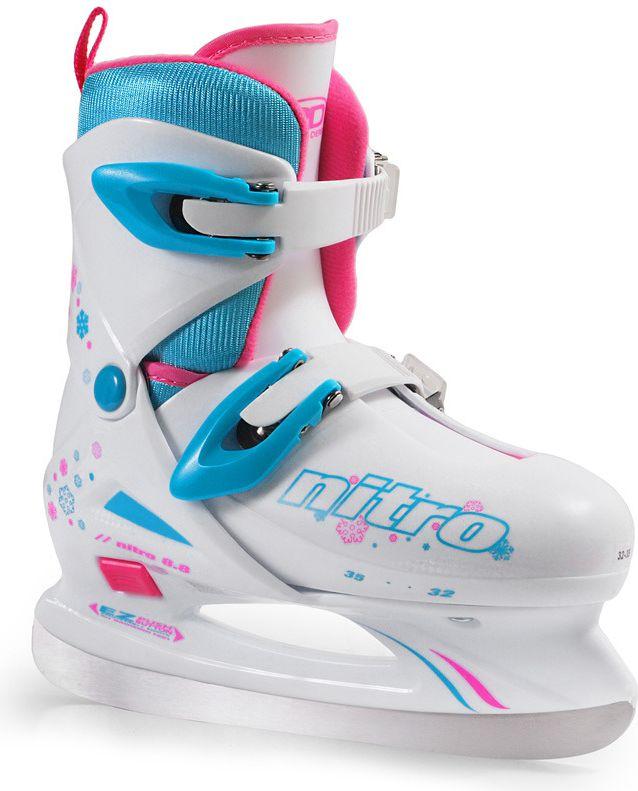 Roller Derby Lyzwy hokejowe Nitro 8.8 Girl biale r. 32-35 (8178) 8178 Slidošanas un hokeja piederumi