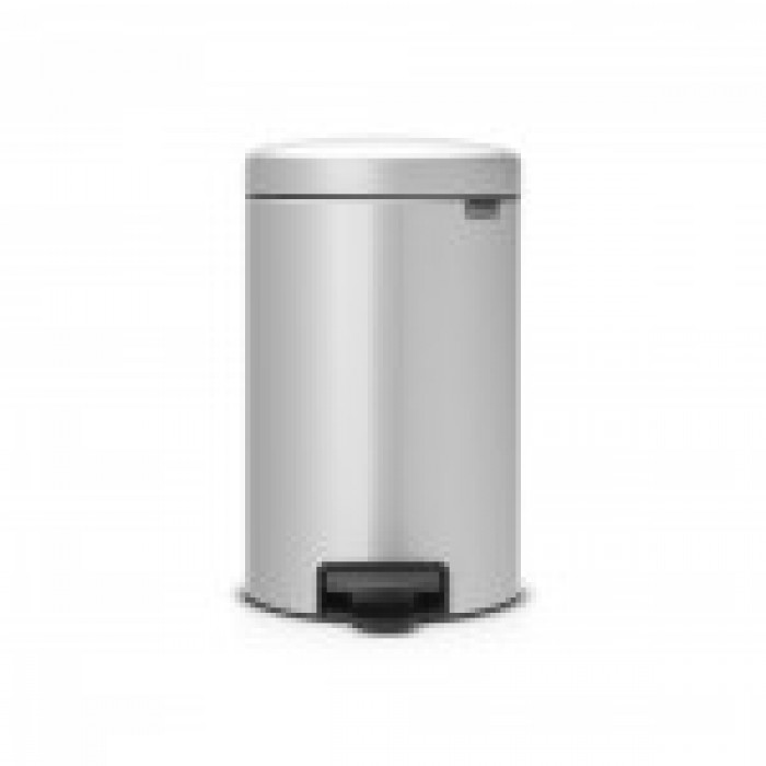 BRABANTIA atkritumu tvertne ar pedāli NewIcon, 12 l, Metallic Grey atkritumu tvertne