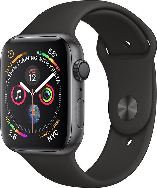 Apple Watch Series 4 GPS 44mm Grey Alu Black Sport Band Viedais pulkstenis, smartwatch
