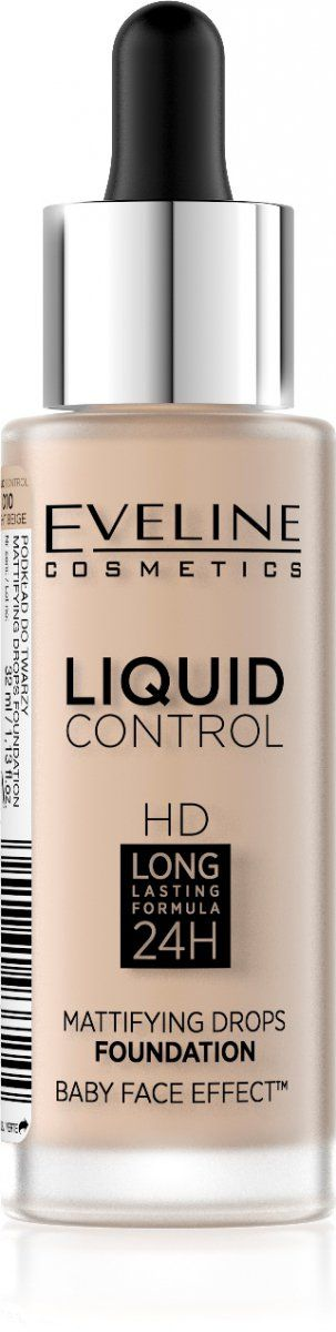 Eveline Liquid Control HD Face Foundation 010 Light Beige 32ml tonālais krēms