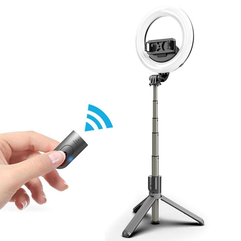 Mocco 4in1 Universāls Selfie Stick ar 3 toņu LED lampu  / Tripod Statnis / Bluetooth Tālvadības pults /  Melns Selfie Stick