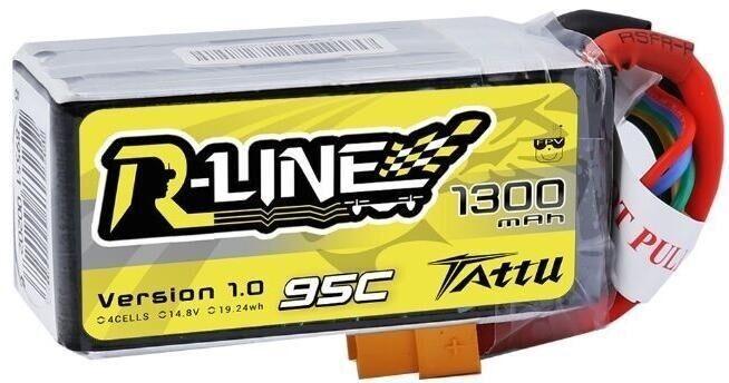 Gens Ace & TATTU Akumlator 1300mAh 14.8V 95C TATTU R-Line (TA-RL-95C-1300-4S1P) Radiovadāmā rotaļlieta