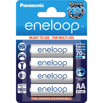 Panasonic Eneloop Ready To Use Rechargeable Battery 4x AA BK-3MCCE-4BE Baterija