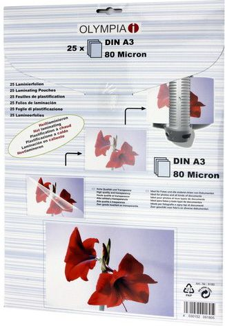 Olympia Laminating pouches DIN A3 80 micron            9180 laminators
