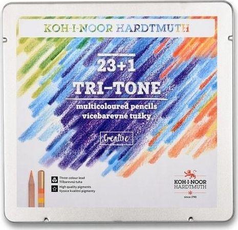 Koh-I-Noor Tri-Tone Crayons Tri-color 23 + 1 colors