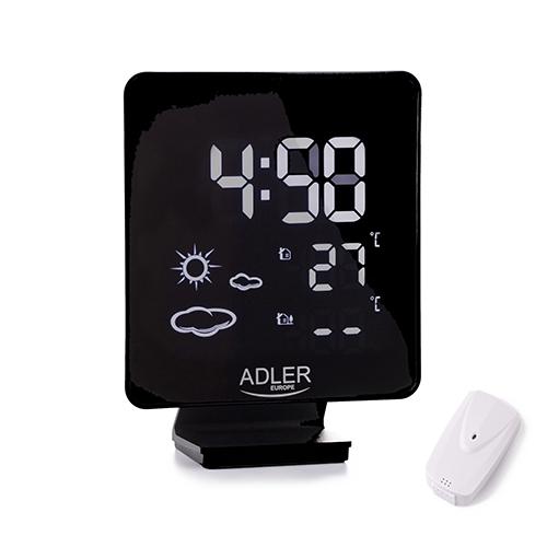 Adler Weather station AD 1176 Black, White Digital Display, Remote Sensor 5902934836623 barometrs, termometrs
