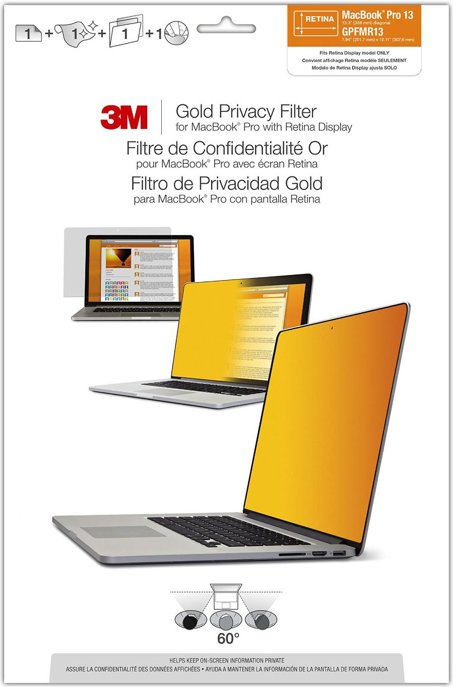3M GPFMR13 Blickschutzfilter Gold for Apple MacBook Pro 13  Re.