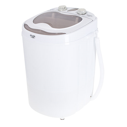 Adler Mini washing machine AD 8055 Top loading, Washing capacity 3 kg, Depth 37 cm, Width 36 cm, White 5902934835749 Veļas mašīna