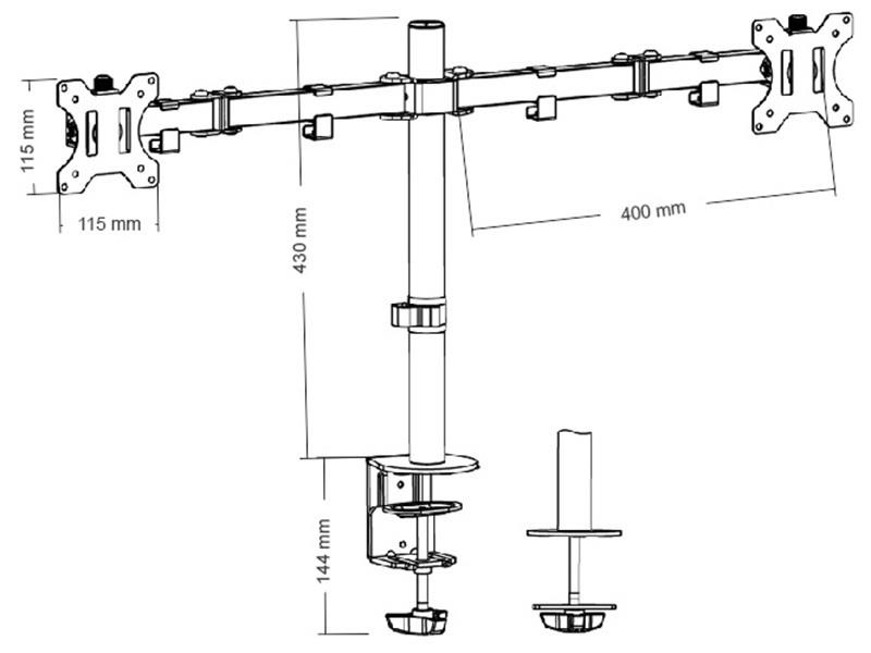 TRACER  Holder LED/LCD for two monitors DESK 903 (13 ''-32'')