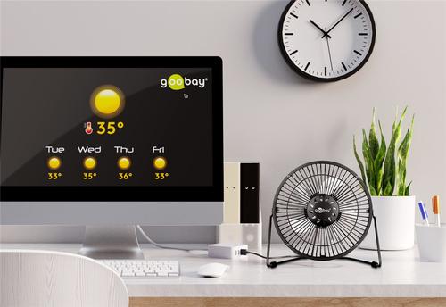 Goobay 62061 20cm galda ventilators, USB, Number of speeds 1, Black Klimata iekārta