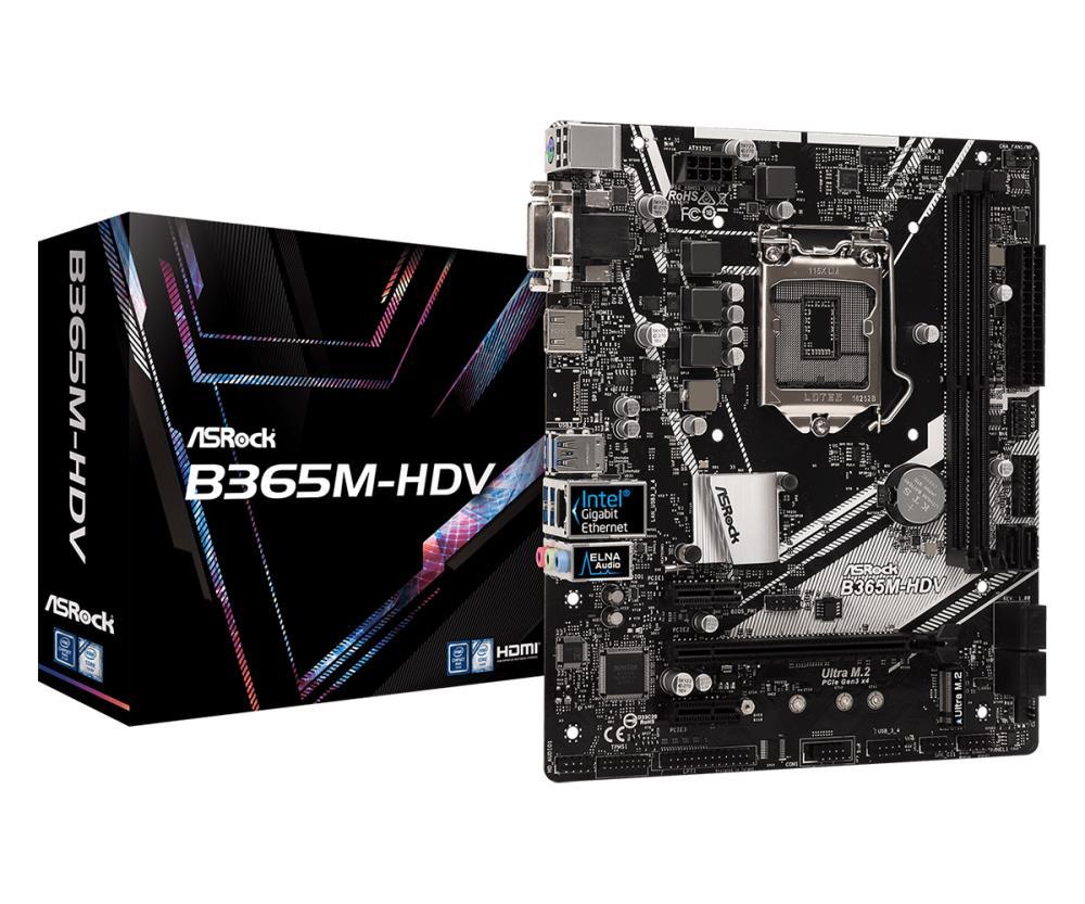 ASRock B365M-HDV, INTEL B365 Series, LGA1151, 2 DDR4, 6 x SATA3 pamatplate, mātesplate