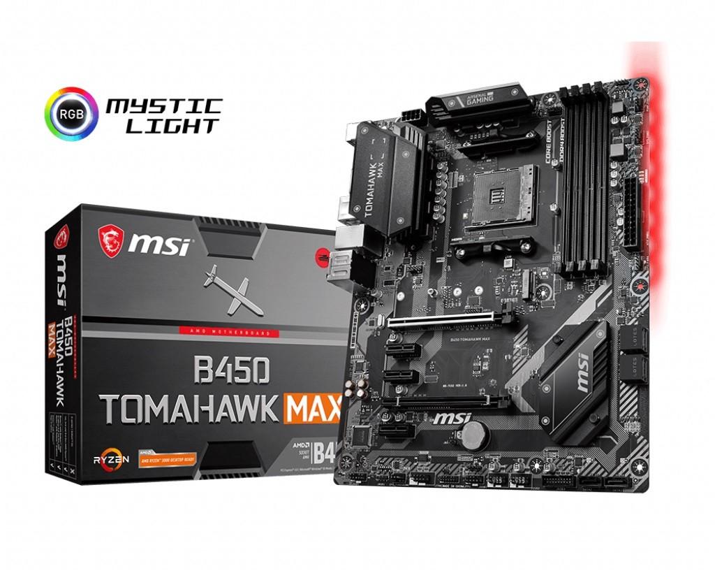 MSI B450 TOMAHAWK MAX AM4 4DDR4 HDMI/DVI/M.2 ATX pamatplate, mātesplate