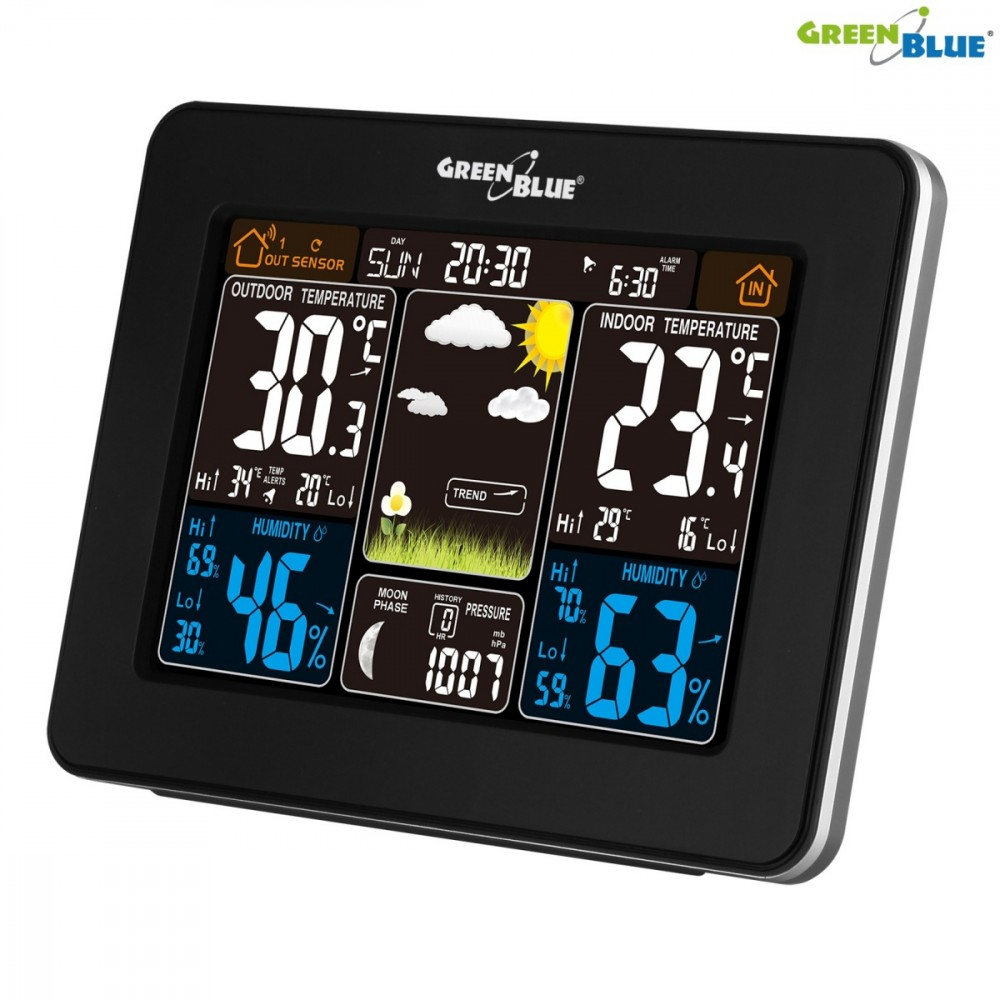 GreenBlue Weather station DCF GB523 DCF color wireless moon phase barometrs, termometrs