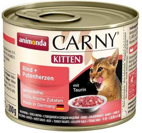ANIMONDA  Carny Kitten Wolowina, Serca indycze 200 g 17469 kaķu barība