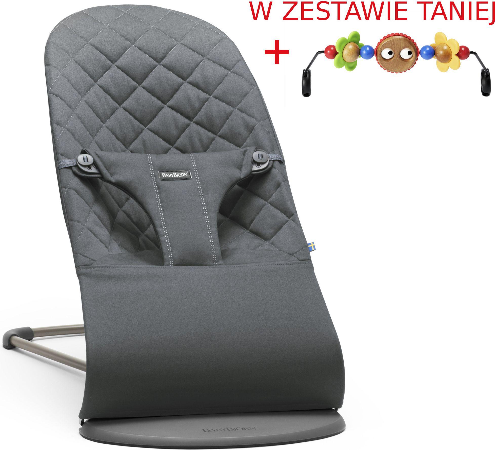 BABYBJORN  Lezaczek BLISS - Antracytowy + Zabawka 7317686060215 šūpuļkrēsls