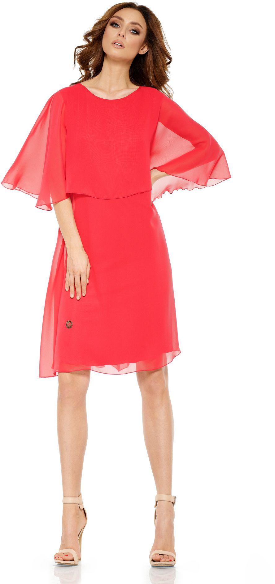 Lemoniade Szyfonowa sukienka z narzutka L261 malinowa r. L L261 Kleitas sievietēm
