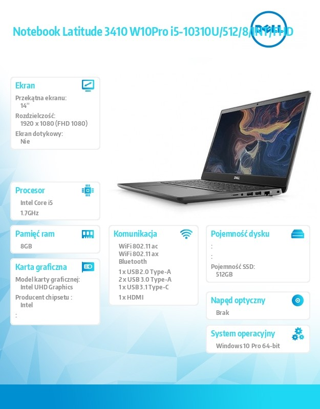"Notebook|DELL|Latitude|3410|CPU i5-10310U|1700 MHz|14""|1920x1080|RAM 8GB|DDR4|SSD 512GB|Intel UHD Graphics|Integrated|ENG|Windows 10 Pro|1.6 Portatīvais dators"