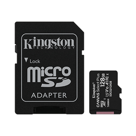 Kingston 128GB micSDXC Canvas Select Plus 100R A1 C10 Card + ADP atmiņas karte