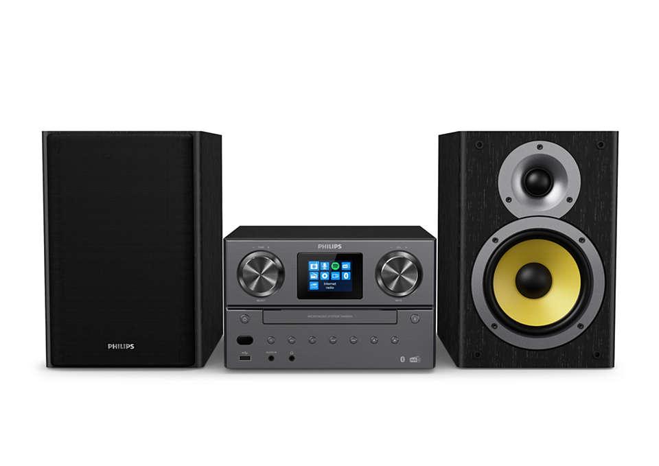 PHILIPS Mikro mūzikas sistēma ar Bluetooth, Interneta radio, DAB+, melns TAM8905/10 mūzikas centrs