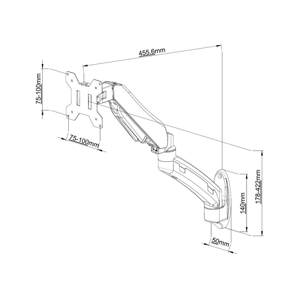 ART Wall Holder on gas spring for 1 monitor LED/LCD 13-27'' L-12GW