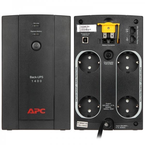 APC BACK-UPS 1400VA, 230V, AVR, Schuko Sockets nepārtrauktas barošanas avots UPS