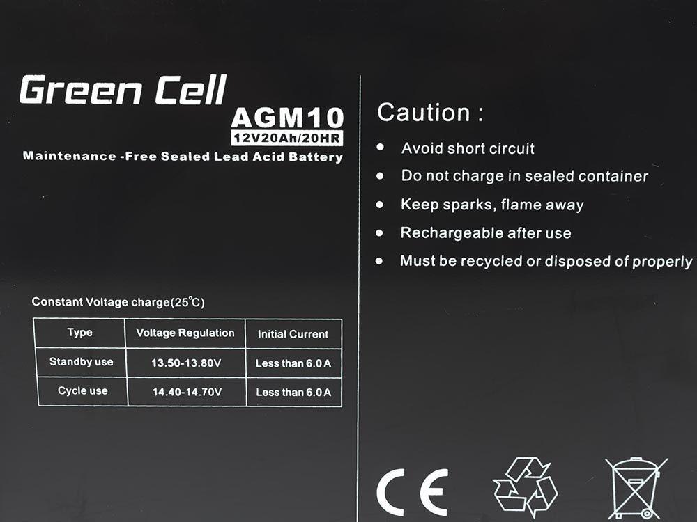 Green Cell AGM Gel Battery 12V 20Ah UPS aksesuāri