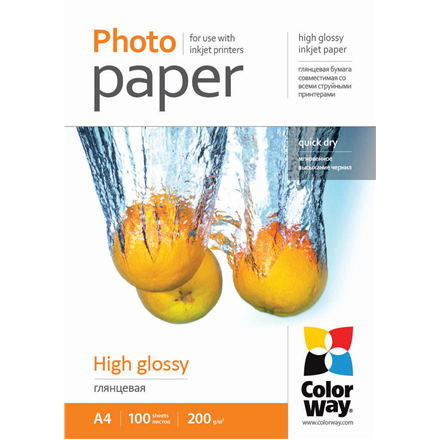ColorWay High Glossy Photo Paper, 100 sheets, A4, Weight 200 g/m2 foto papīrs
