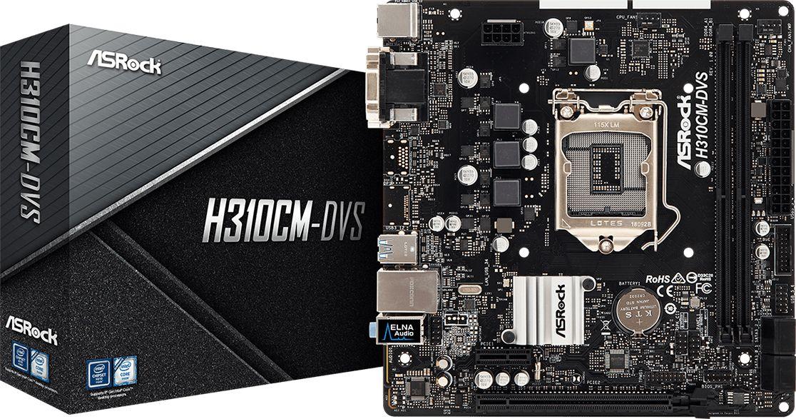 Asrock H310CM-DVS Intel Registered  H310 LGA 1151 (Socket H4) micro ATX pamatplate, mātesplate