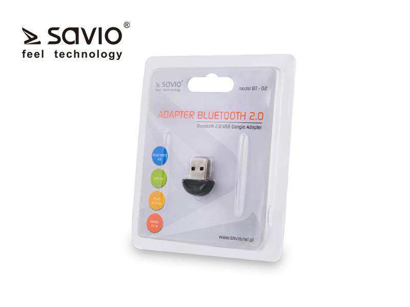 Savio BT-02 Bezvadu Bluetooth 2.0 Adapteris (USB 2.0, Wireless, 3Mbps)