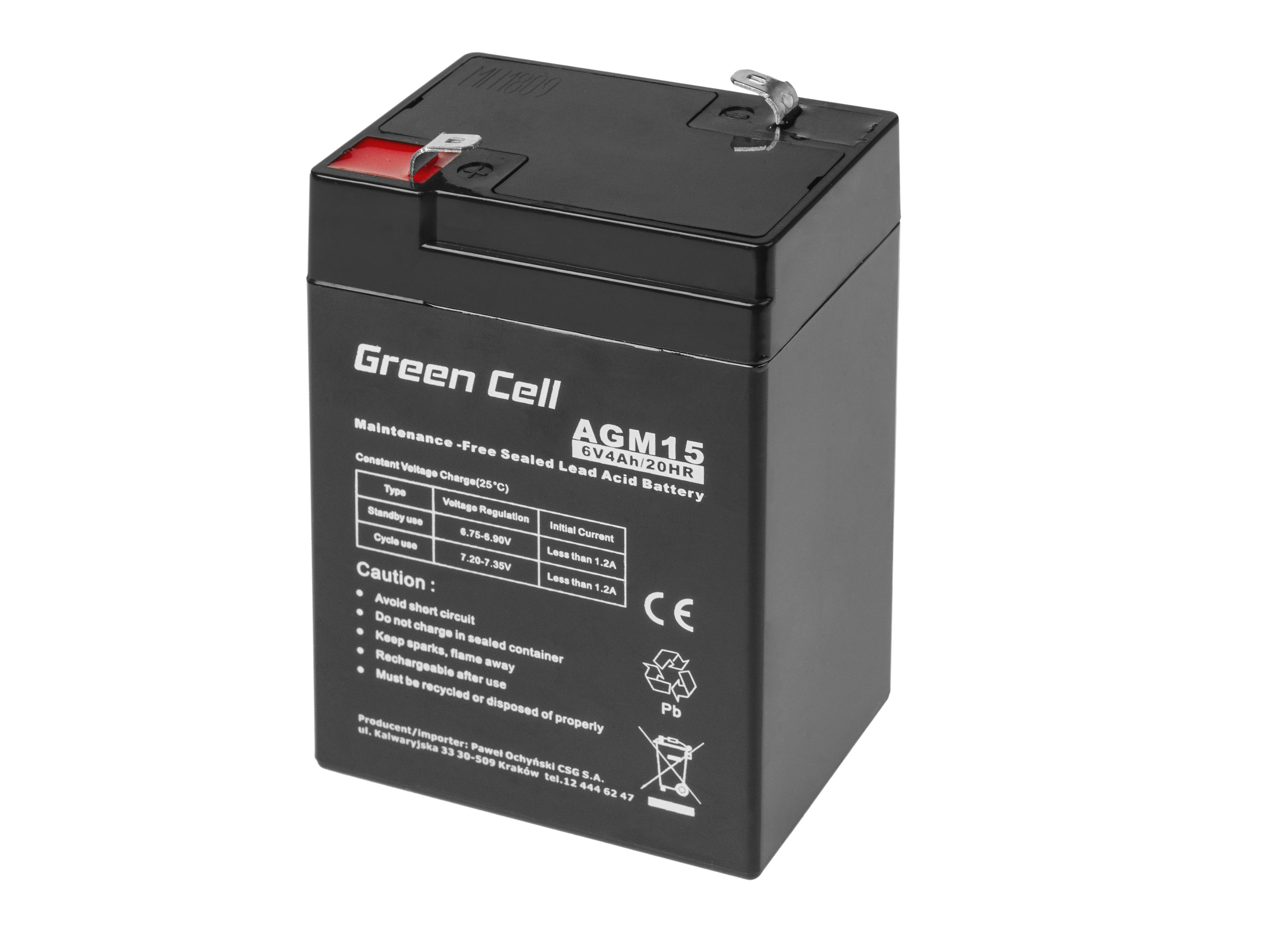 Green Cell AGM Battery 6V 4Ah UPS aksesuāri