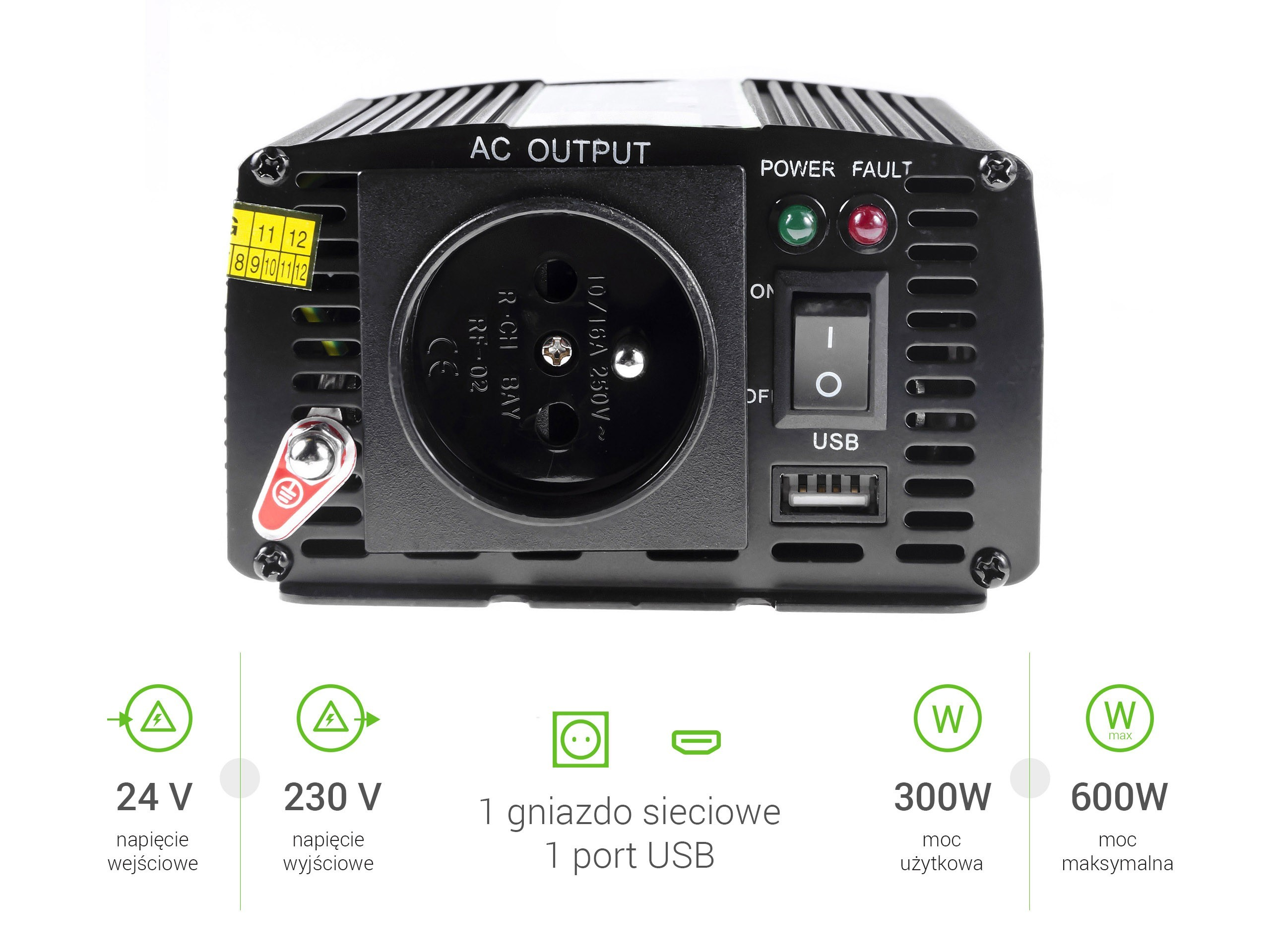 Green Cell  Registered  Voltage Car Inverter 24V to 230V, 300W / 600W Strāvas pārveidotājs, Power Inverter